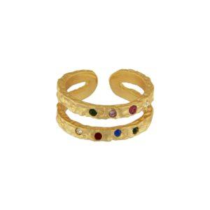 Regnbue guld fingerring