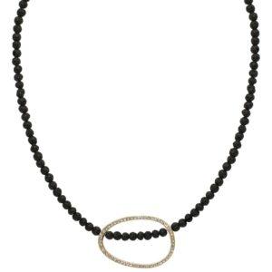 Halskæde med lavasten og krystaller