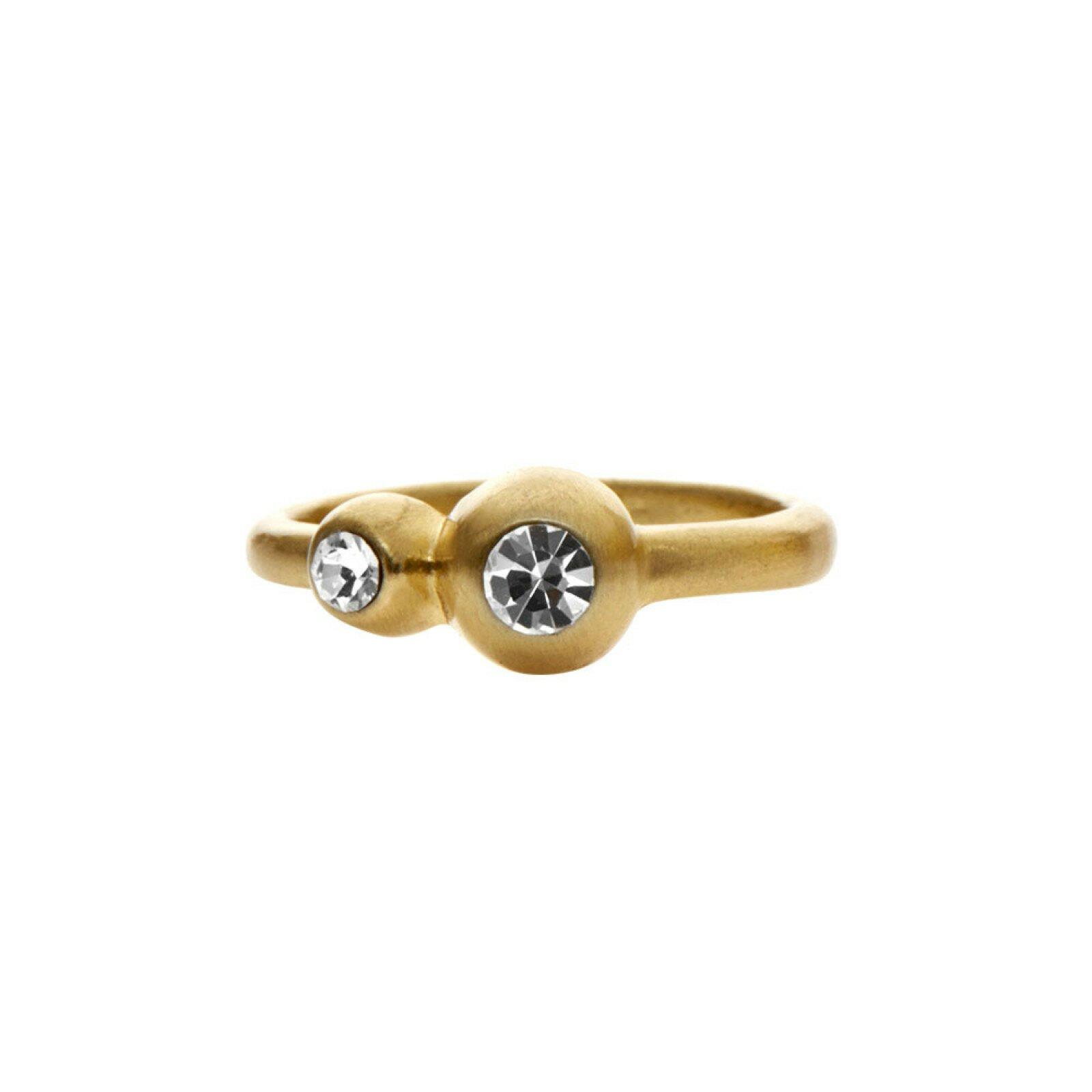 Guld ring med dobbelt krystal
