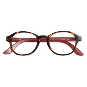 Læsebriller meleret stel og røde stænger