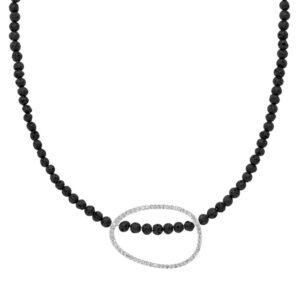 Lavasten halskæde med glaskrystaller