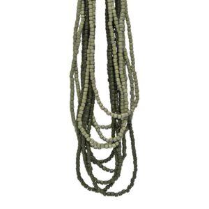 Halskæde med træperler - grøn